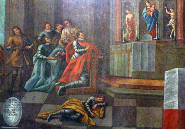 No interior da capela, vários quadros, que representam a lenda de Montemor e o milagre de Seiça. Aqui, a ressurreição na ermida.
