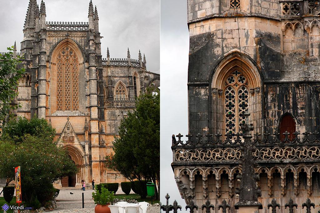 Entrada lateral na esquerda e pormenores góticos à direita