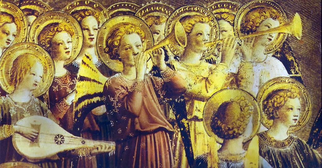 Anjos que cantam e tocam música...