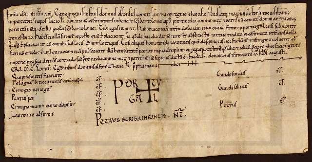 """Primeira aparição do nome """"Portugal"""" como selo heráldico."""